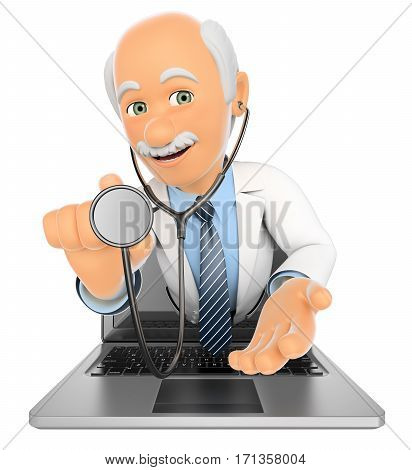 3d medical people illustration. Doctor coming out a laptop screen with a stethoscope. Isolated white background.