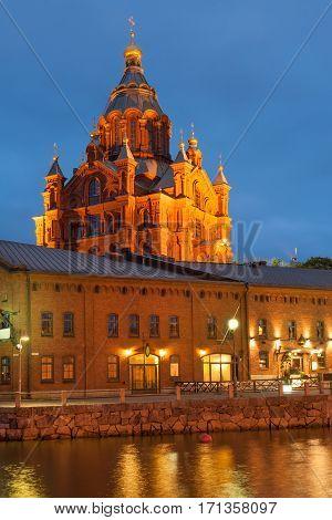 Uspenski cathedral of Finnish Orthodox church by Helsinki harbor in June, Finland