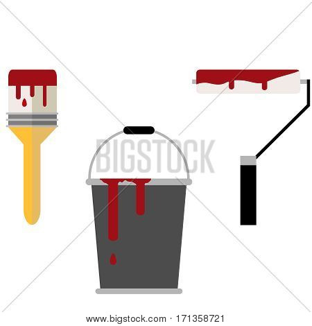 A bucket of paint, paint brush, paint roller. Flat design, vector illustration, vector.