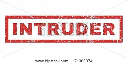 Intruder text rubber seal stamp watermark. Caption inside rectangular shape with grunge design and dust texture. Horizontal vector red ink emblem on a white background.