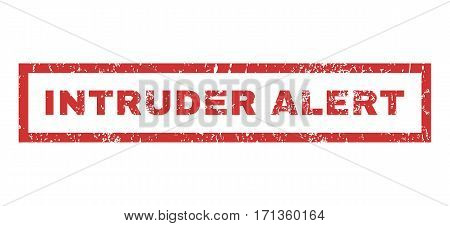 Intruder Alert text rubber seal stamp watermark. Caption inside rectangular shape with grunge design and dust texture. Horizontal vector red ink sticker on a white background.
