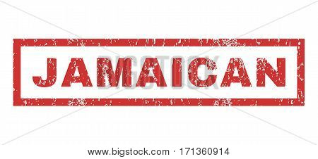 Jamaican text rubber seal stamp watermark. Caption inside rectangular shape with grunge design and dust texture. Horizontal vector red ink emblem on a white background.