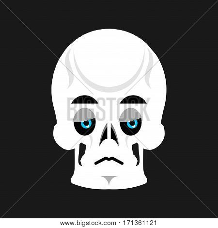 Skull Sad Emoji. Skeleton Head  Sorrowful Emotion Isolated