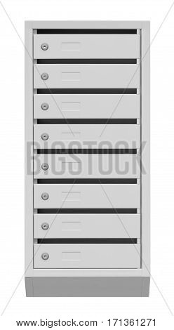 metal mail boxes on a white background