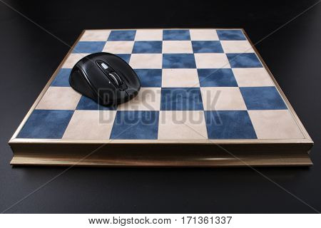 Chessboard On A Black Background. Field In The Cell