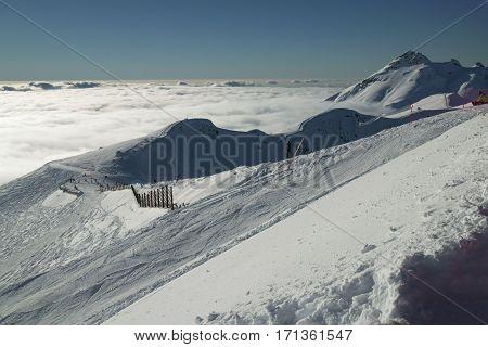 Ski slopes on the southern slope Aibga Ridge of the Western Caucasus at Rosa Khutor Alpine Resort