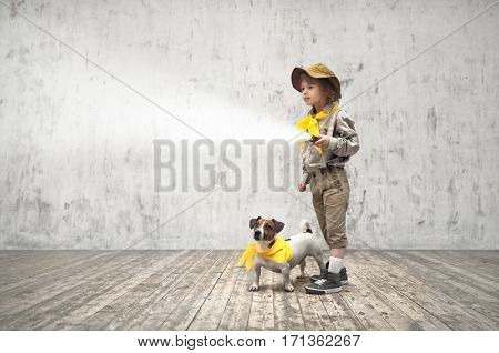 Little boy with a flashlight