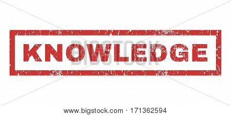 Knowledge text rubber seal stamp watermark. Caption inside rectangular banner with grunge design and dust texture. Horizontal vector red ink sticker on a white background.