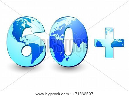 Card with number 60 and blue Earth globe inside symbolizing 60 minutes in Earth Hour on white background. Vector illustration