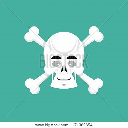 Skull And Bone Sleeps Emoji. Skeleton Head Asleep Emotion Isolated