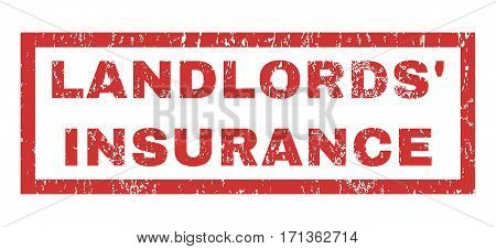 Landlords Insurance text rubber seal stamp watermark. Tag inside rectangular banner with grunge design and dirty texture. Horizontal vector red ink sign on a white background.