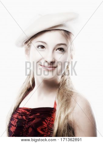 Portrait of a Girl with Blond Hair and White Beret