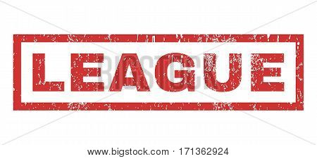 League text rubber seal stamp watermark. Tag inside rectangular banner with grunge design and scratched texture. Horizontal vector red ink emblem on a white background.