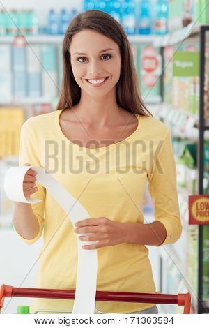 Happy Woman With Grocery Receipt