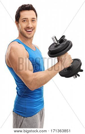 Athletic guy working out with a dumbbell isolated on white background