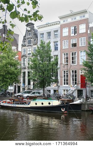 Netherlands Amsterdam June 2016: The Keizersgracht one of the famous canals in Amsterdam contains stepped gabled houses