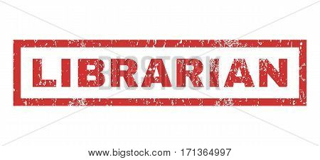 Librarian text rubber seal stamp watermark. Tag inside rectangular shape with grunge design and scratched texture. Horizontal vector red ink sticker on a white background.