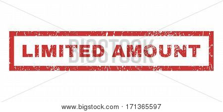 Limited Amount text rubber seal stamp watermark. Caption inside rectangular banner with grunge design and unclean texture. Horizontal vector red ink emblem on a white background.