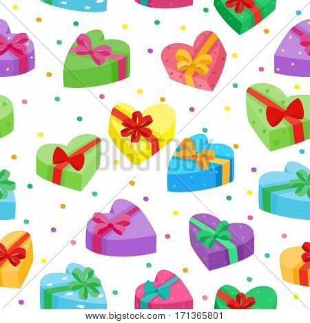 Valentines days presents collection. Vector seamless pattern of cartoon gifts in bag isolated on white