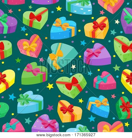 Valentines days presents collection. Vector seamless pattern of cartoon gifts in bag on green background