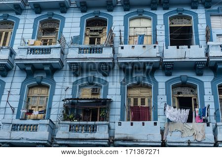 blue old facade building from la havana on december 26 2016 in La Havana Cuba