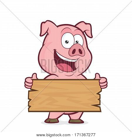 Clipart picture of a pig cartoon character holding a plank of wood