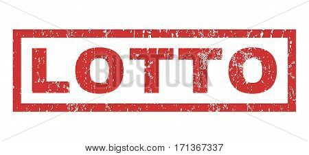 Lotto text rubber seal stamp watermark. Caption inside rectangular shape with grunge design and dust texture. Horizontal vector red ink emblem on a white background.