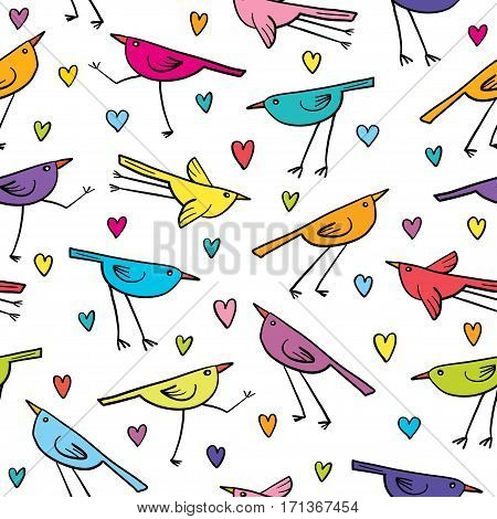 Seamless pattern with cute birds and hearts on white background. Cartoon colorful funny little birds.