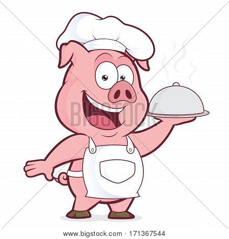 Clipart picture of a pig chef cartoon character holding silver cloche
