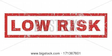 Low Risk text rubber seal stamp watermark. Caption inside rectangular banner with grunge design and dirty texture. Horizontal vector red ink sign on a white background.
