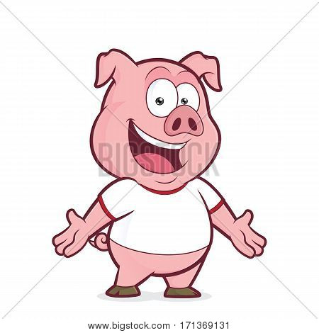 Clipart picture of a pig cartoon character wearing a white t shirt