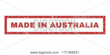 Made In Australia text rubber seal stamp watermark. Tag inside rectangular shape with grunge design and unclean texture. Horizontal vector red ink sticker on a white background.
