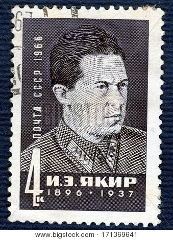 USSR - CIRCA 1966: Postage stamp printed in USSR with a picture a portrait of  I. E. Yakir (1896-1937), Soviet military leader Civil War. circa 1966