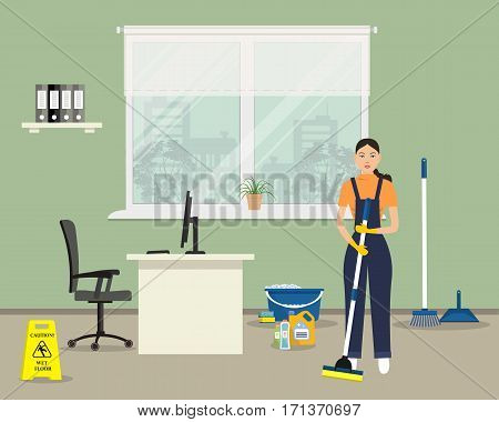 Web banner of an office cleaning lady. Young woman with a mop standing on the window background. There is also a