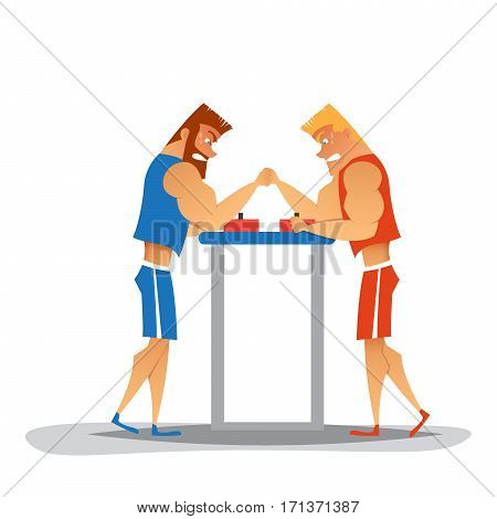 Arm wrestling competition.Cartoon athletes are competes. Funny characters