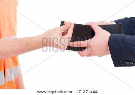 Closeup Hand Of Male Engineer Asking Money