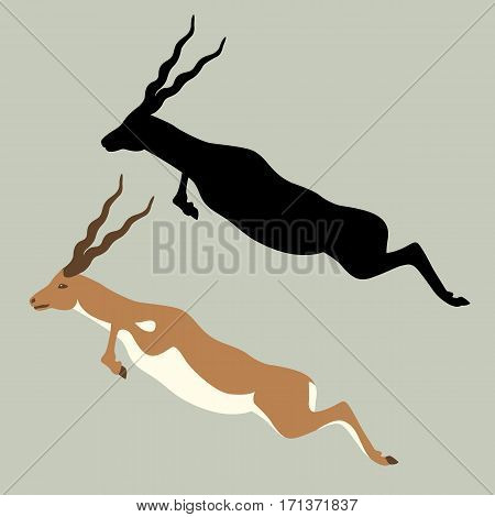 antelope vector illustration style Flat black silhouette