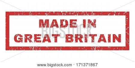 Made In Great Britain text rubber seal stamp watermark. Tag inside rectangular banner with grunge design and dust texture. Horizontal vector red ink sign on a white background.