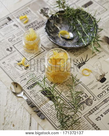 Orange Marmalade In Small Glass Jars With Rosemary, Selective Focus