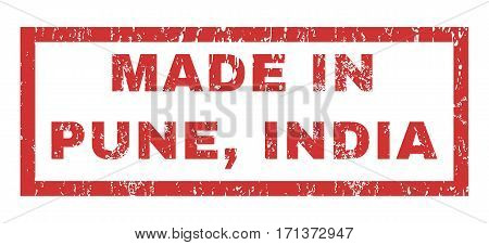 Made In Pune India text rubber seal stamp watermark. Tag inside rectangular banner with grunge design and dust texture. Horizontal vector red ink emblem on a white background.