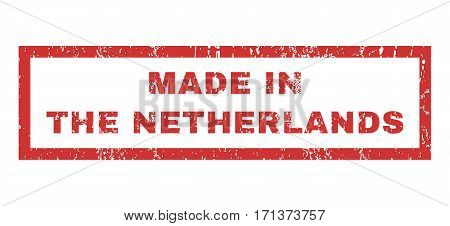 Made In The Netherlands text rubber seal stamp watermark. Caption inside rectangular shape with grunge design and dirty texture. Horizontal vector red ink sign on a white background.
