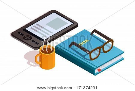 Colored isometirc reading composition with cup of coffee glasses and book electronic and paper vector illustration