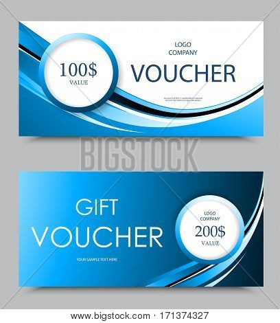 Gift company voucher template on one and two hundred dollars with white circles and light blue wavy curved lines pattern. Vector illustration