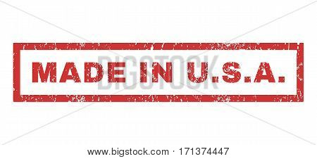 Made In U.S.A. text rubber seal stamp watermark. Tag inside rectangular shape with grunge design and dust texture. Horizontal vector red ink sign on a white background.