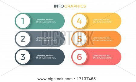 Business infographics. Presentation with 6 steps, options. Vector elements.