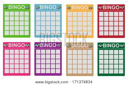 Various colored bingo tickets