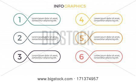Business infographics. Presentation with 6 parts, options. Vector design elements.