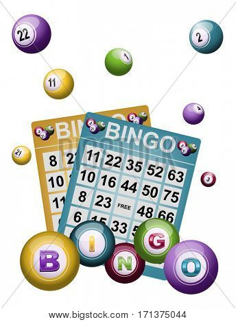 Bingo background with tickets and balls