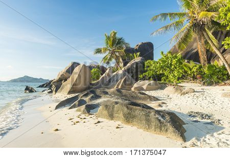 Beautifully shaped granite boulders and a perfect white sand at Anse Source d'Argent beach, La Digue island, Seychelles
