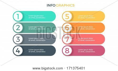 Business infographics. Presentation with 8 steps, options. Vector elements.